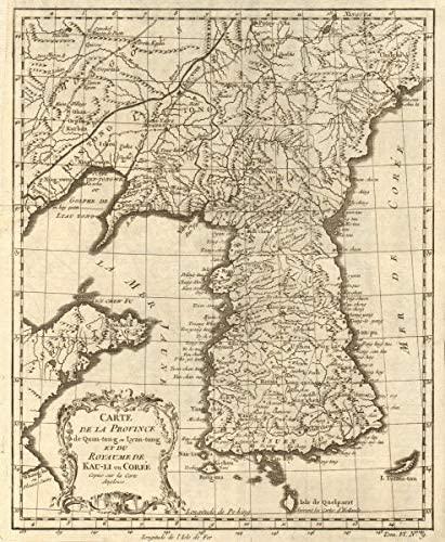 'Province de Quan-Tong… & Royaume de Kauli ou Corée'. Korea. BELLIN - 1748 - Old map - Antique map - Vintage map - Printed maps of Korea