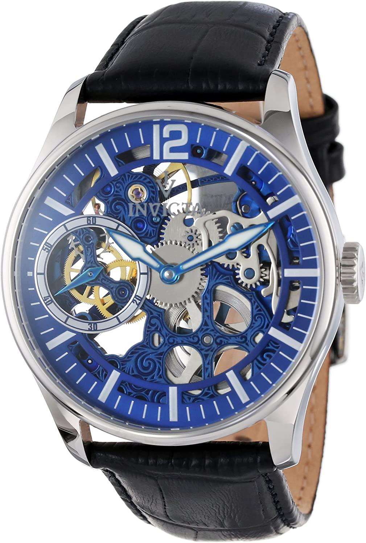 Invicta Men's 12404 Vintage Mechanical Blue Dial Black Leather Watch