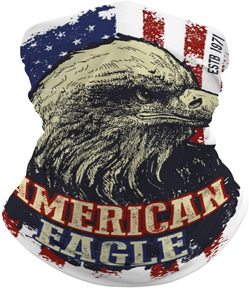 Unisex Vintage-American-Eagle Face Bandanas Neck Gaiter Rave Face Covering Scarf Headband Balaclavas