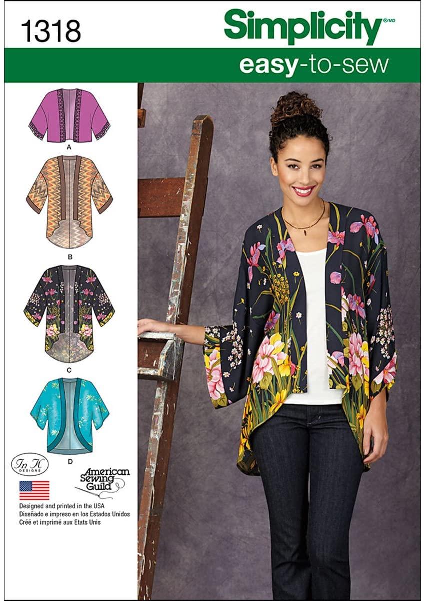 Simplicity Creative Patterns 1318 Misses' Kimono Jackets Sewing Patterns, Size A (XXS-XS-S-M-L-XL-XXL)