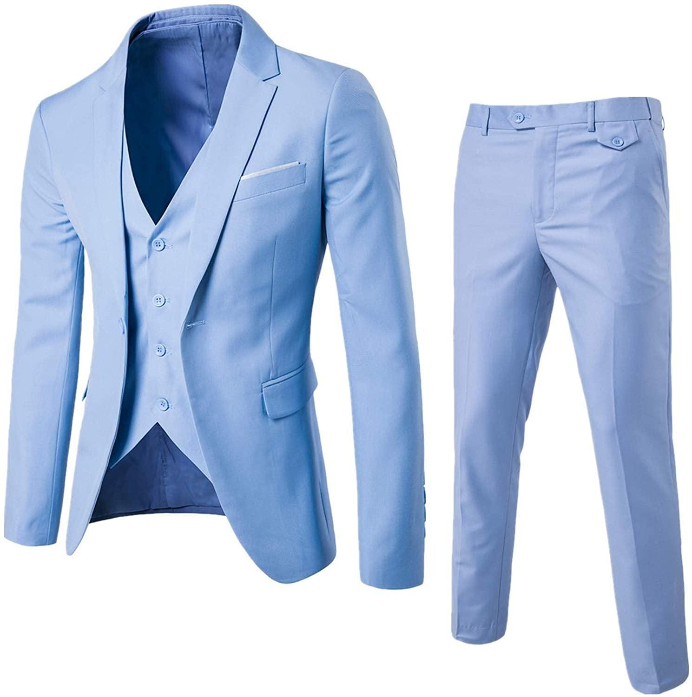 Soluo Mens 3-Piece Suit Notched Lapel One Button Slim Fit Formal Jacket Vest Pants Set (Light Blue,X-Large)