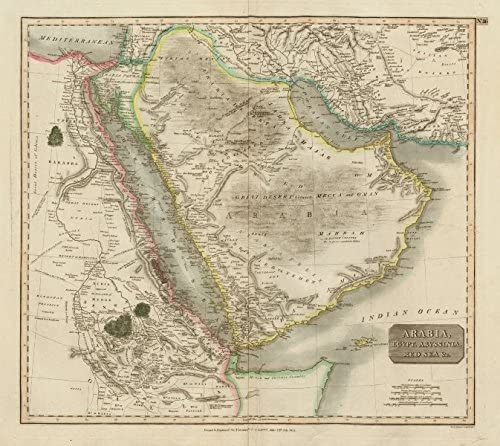 Arabia, Egypt, Abyssinia, Red Sea &c. Hajj Caravan Routes. Thomson - 1817 - Old map - Antique map - Vintage map - Printed maps of Arabia