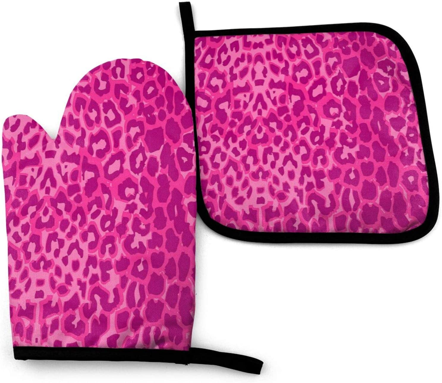 LASWEGA Pink Leopard Texture Oven Mitts and Pot Holders Set,Heat Resistant Gloves & Potholder for Cooking,Baking,Grilling,Serving,BBQ Or Dinner Party,Decorative Kitchen Gift
