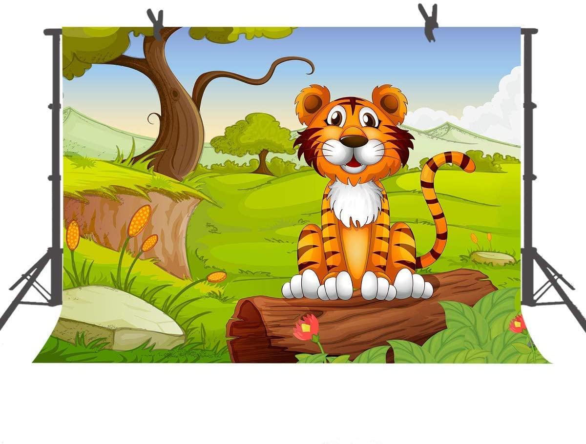9x6ft Cartoon Tiger Backdrop Baby Photography Props Photo Studio Background LYFU269