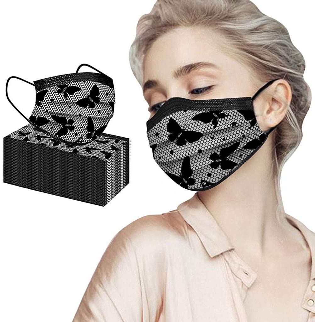 MTENG 50PC Adult Fashion Lace Disposable Protection Three Layer Breathable Face