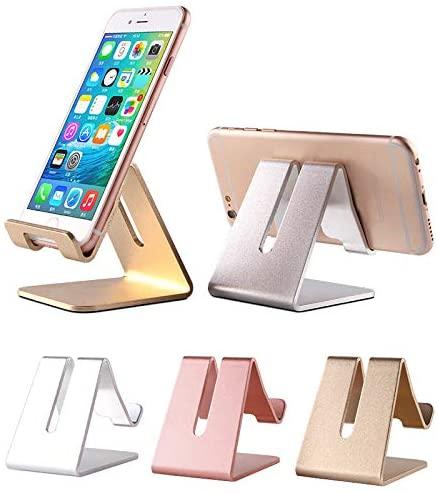 Universal Metal Aluminum Cell Phone Tablet Desktop Charging Hands Free Cradle Dock Stand - Pink, Gold, Silver, Black (Gold)