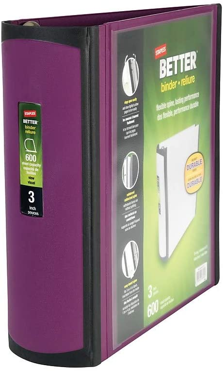 STAPLES 399963 Better 3-Inch D 3-Ring View Binder Plum (22172-Us)