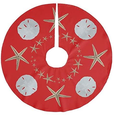 Red Starfish and Sand Dollar Christmas Tree Skirt 30