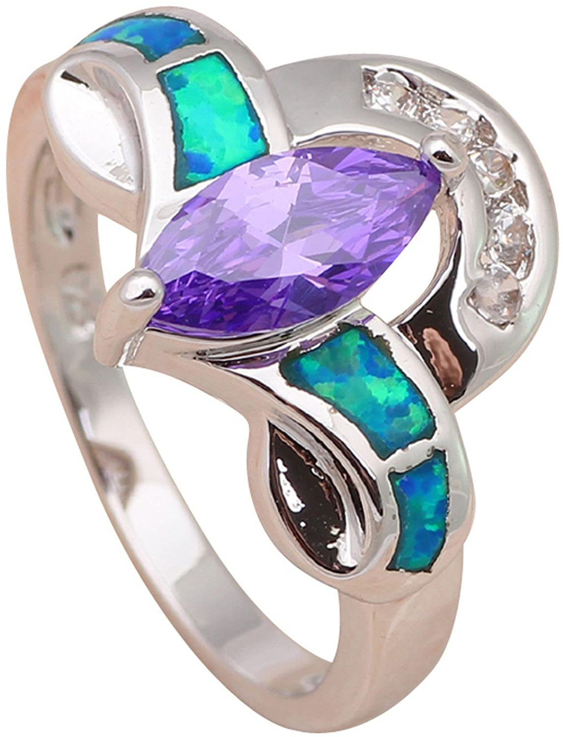 GemMart Jewelry Plant style Amethyst Silver blue fire opal Ring jewelry 7 8 6.5 7.5 OR503A