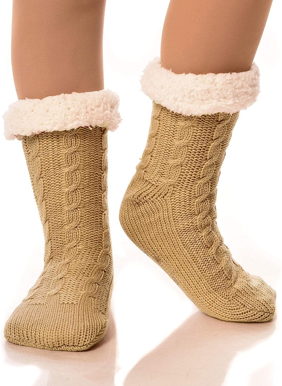 Womens Sherpa Socks Thermal Fleece Lined Fuzzy Gripper Socks Winter Christmas Slipper Socks
