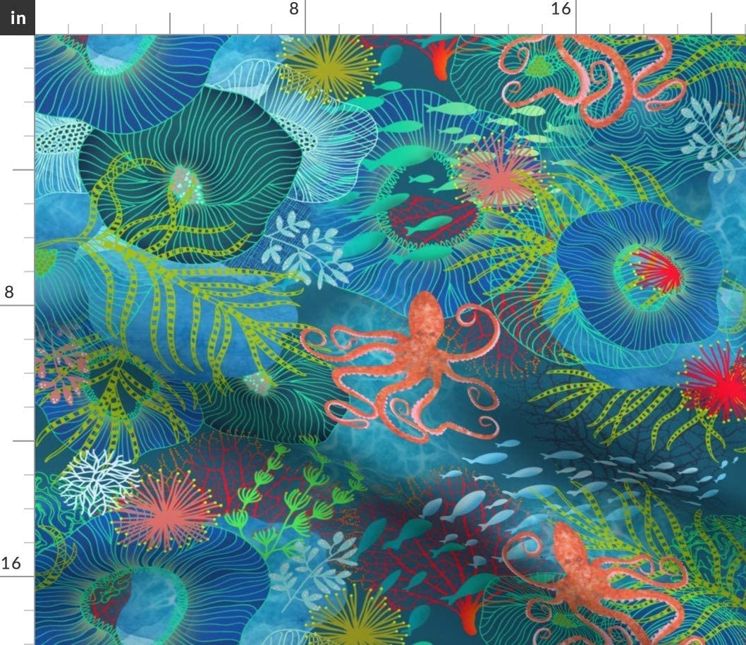Spoonflower Fabric - Aquatic Dance Blue Nautical Animals Jellyfish Ocean Octopus Coral Sea Printed on Denim Fabric by The Yard - Bottomweight Apparel Home Decor Upholstery