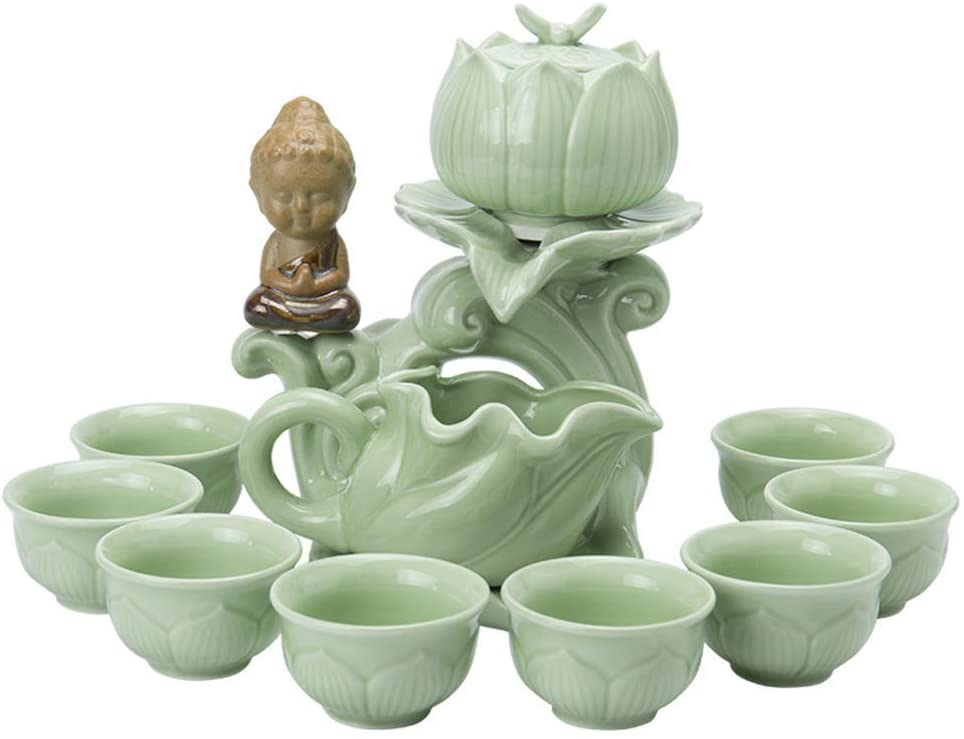 Tea Sets Porcelain Kung Fu Tea Set Household Semi-Automatic Tea Set Teapot Fair Cup Cup Coffee Cup Set of Gift Boxes Coffee Servers (Color : Green)