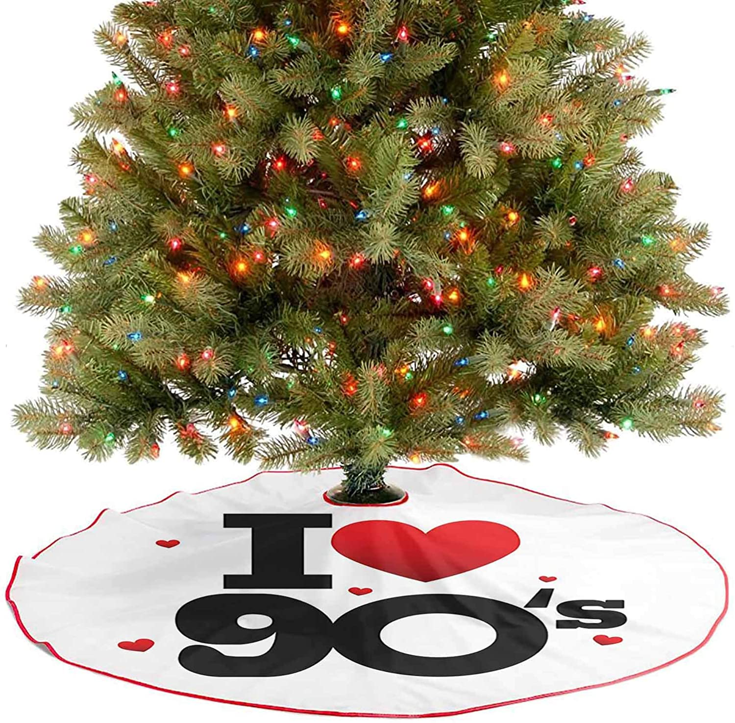 Christmas Tree Mat I Love 90s Illustration Hearts Decade Good Old Days Favorite Times Passion Traditional Christmas Tree Mat Your Cat May Enjoy Laying on The Tree Skirt - 30 Inch