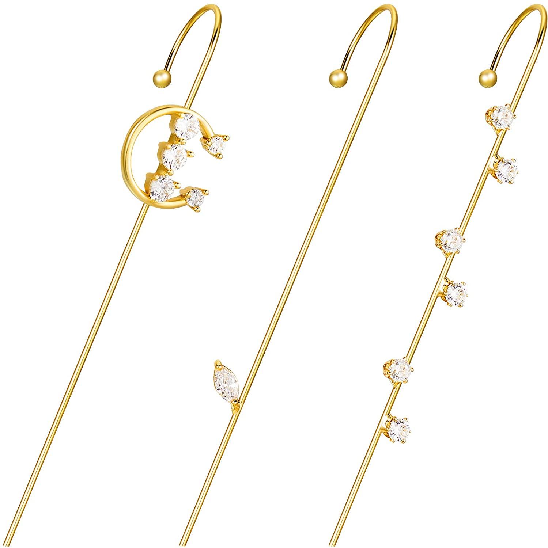 3 Pieces Ear Crawler Earrings Ear Cuff Wrap Crawler Hook Earrings Rhinestone Ear Jewelry for Women Valentine Day Birthday