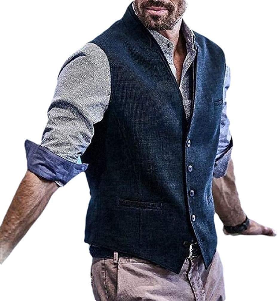 TIMOTHY BURCH Men Regular Fit V-Neck Casual Business Single Breasted Business Dress Suit Tuxedo Vest