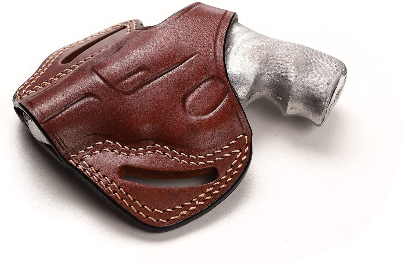 Pusat Holster Revolver Leather 1.87 inch OWB Holster for Ruger LCR 9MM, 38SPL, 357MAG Left Hand Draw Black-Brown Colors