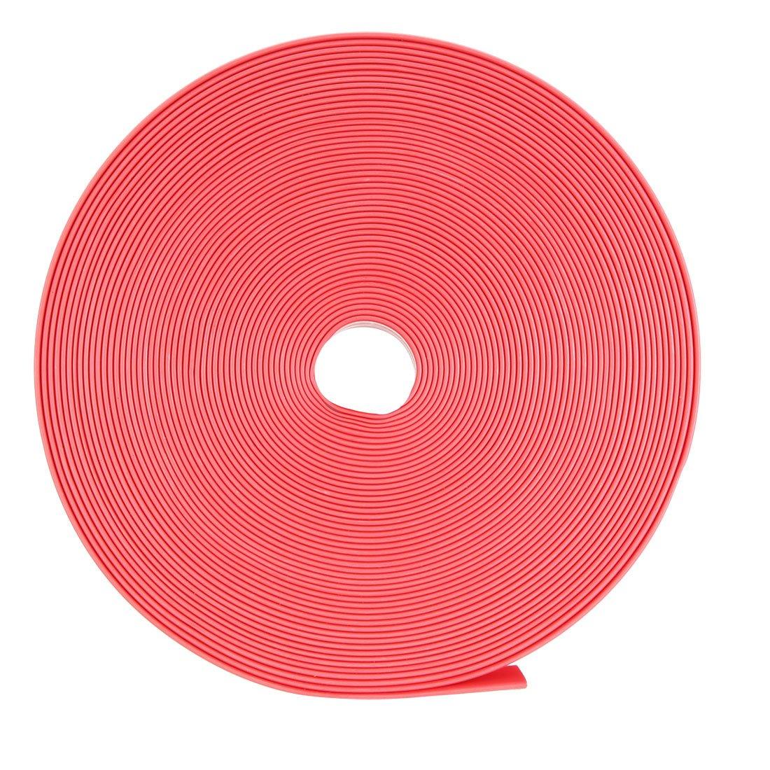 uxcell Heat Shrink Tubing, 14mm Dia 23mm Flat Width 2:1 Heat Shrink Wrap Cable Sleeve Heatshrink Tube 10m Red