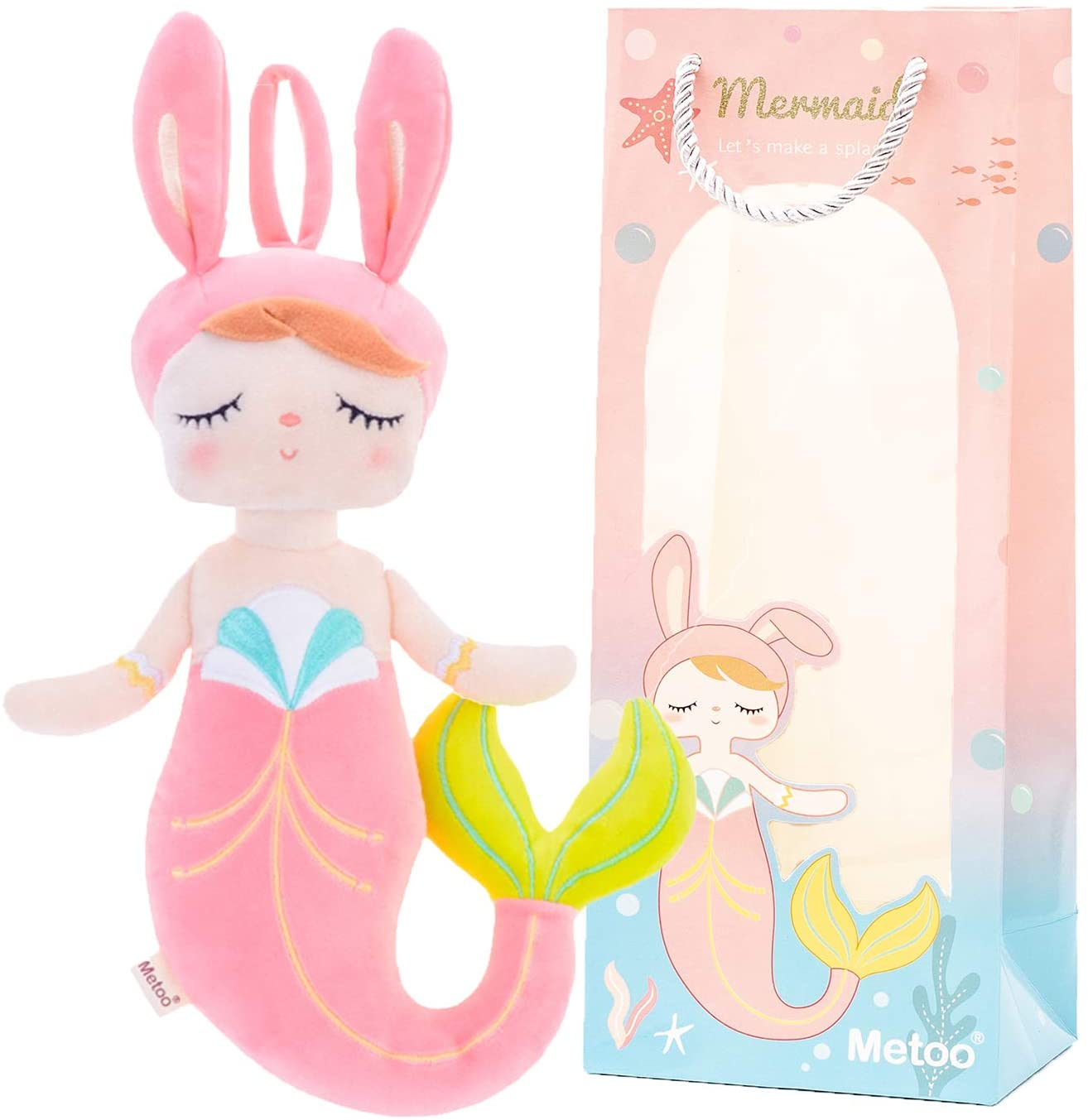 Plush Mermaid Baby Bunny Doll Girl Gifts Soft First Dolls with Gift Box Pink 14 Inches