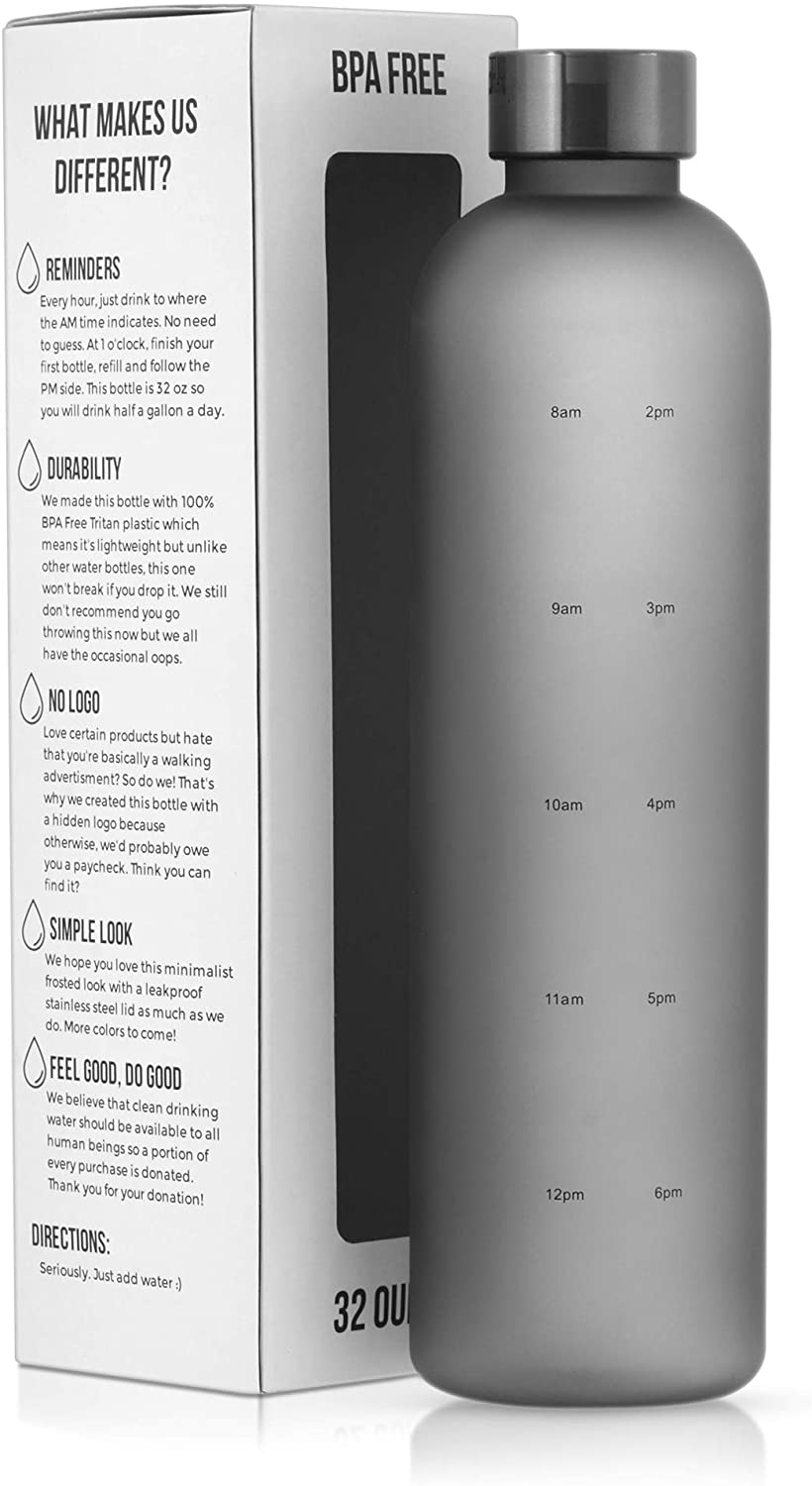JUST ADD WATUR Motivational Water Bottle with Time Marker Reminder, BPA Free Frosted Tritan Plastic, Leakproof and Drop Resistant, 1 Liter 32 Oz