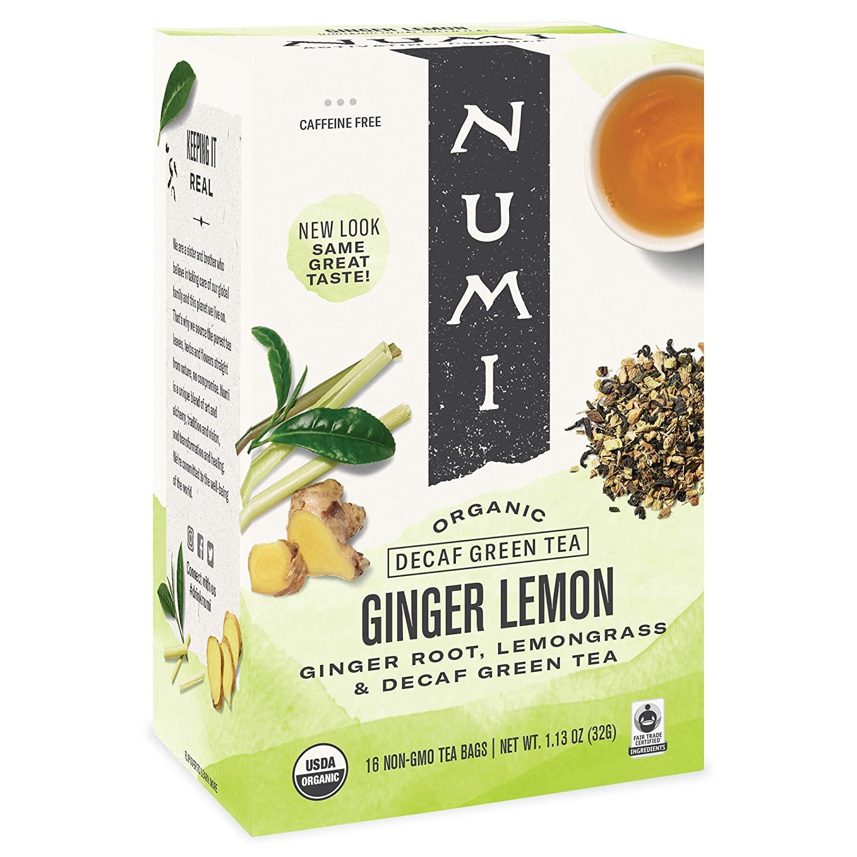 Numi Organic Tea Ginger Lemon, 16 Count (Pack of 1) Box of Tea Bags, Decaf Green Tea (Packaging May Vary)