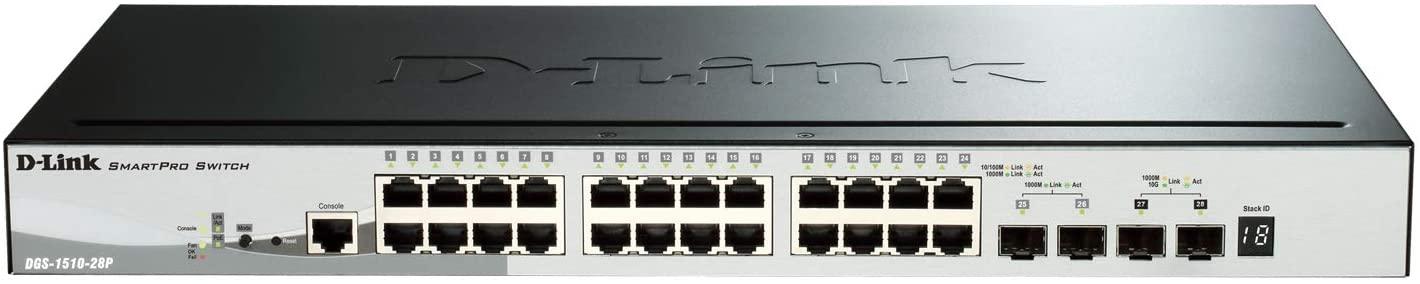 D-Link PoE Switch, 24 28 Port Fast Ethernet Gigabit Managed PoE+ SmartPro w/ 2 Gigabit SFP Ports & 2 10GbE SFP+ Ports 193W PoE Budget Stackable (DGS-1510-28P)