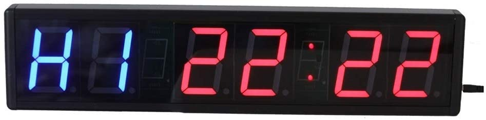 LED Digital Electronic Timer 3-inch Single LED Sport Timing Clock Countdown/up Timer with Remote Control Wall Clocks (Color : Black, Size : 50.6X12X3.5CM)