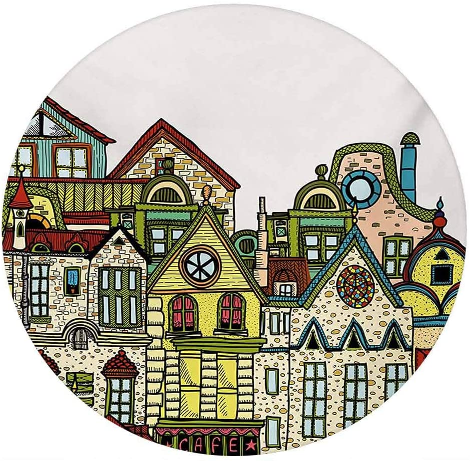 LCGGDB Cityscape 3D Decorative Window Clings,Old Town Retro Art with Colorful Apartments Building Windows Balconies Chimneys Static Cling Window Decal for Home Office,Round 6