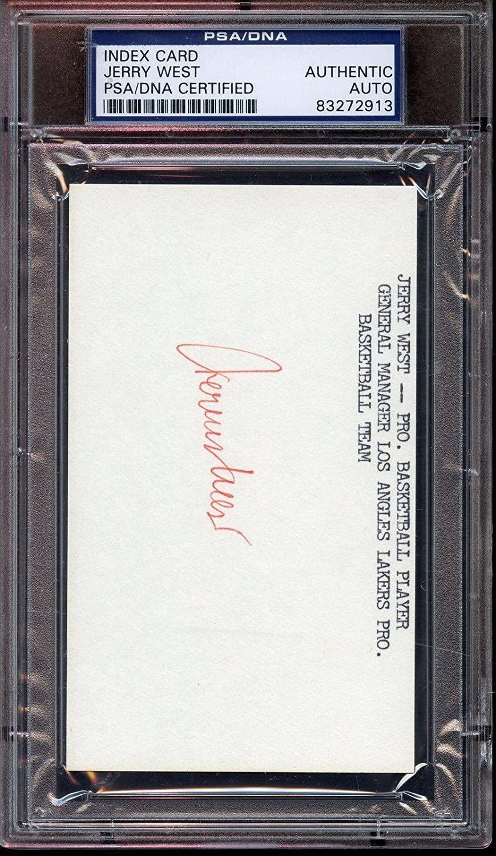 Jerry West Autographed Index Card PSA/DNA Authentic - NBA Cut Signatures
