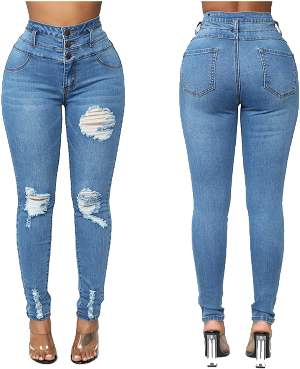 TO CAUSE OF AFFECTION TCOA Women Stretch Ripped Distressed Jeans Skinny High Waist Pants Shredded
