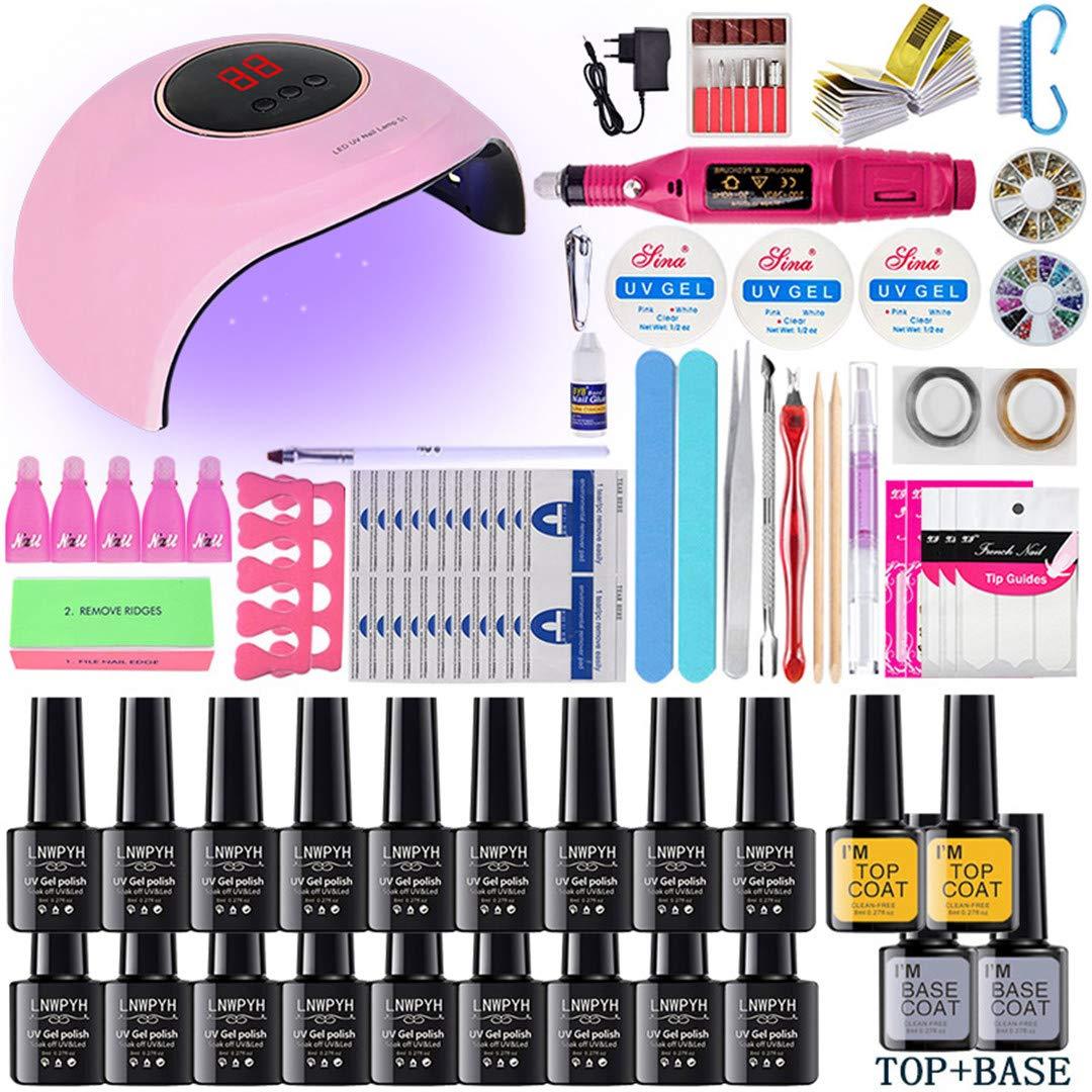 Nail Set UV LED Lamp Dryer With 18/12/10Pcs Nail Gel Polish Kit Soak Off Manicure Tools Set Electric Nail Drill For Nail Tools 24w 18 colors