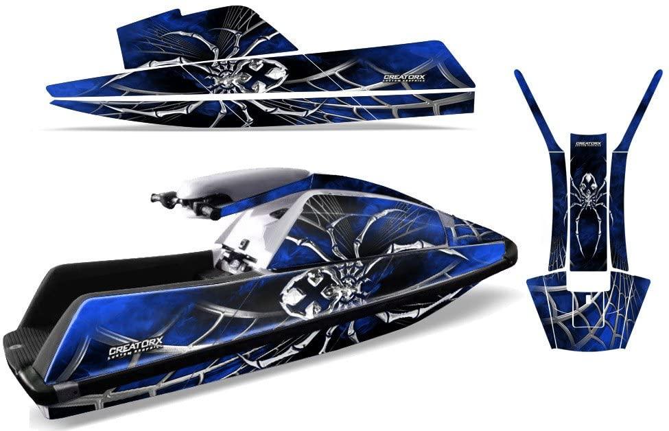 CreatorX Graphics Kit Decals Stickers for Yamaha Superjet Jet Ski Square Nose Jetski SpiderX Blue
