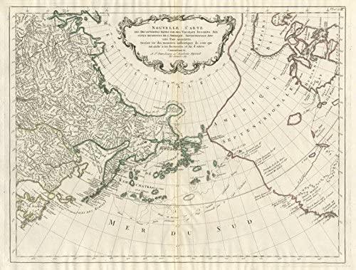 Nouvelle Carte des decouvertes… par des Vaisseaux Russiens… SANTINI - 1784 - old map - antique map - vintage map - printed maps of Pacific