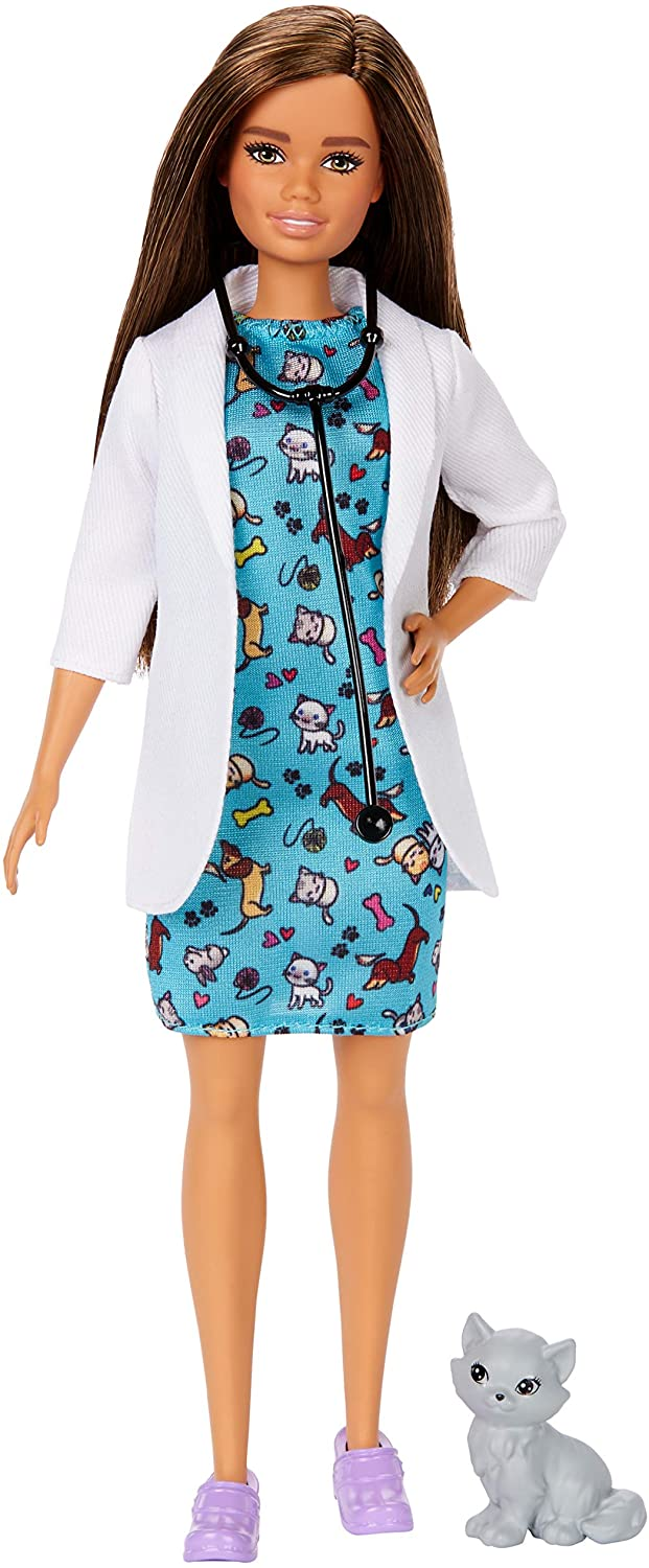 Barbie Pet Vet Brunette Doll with Career Pet-print Dress, Medical Coat, Shoes and Kitty Patient for Ages 3 and Up 