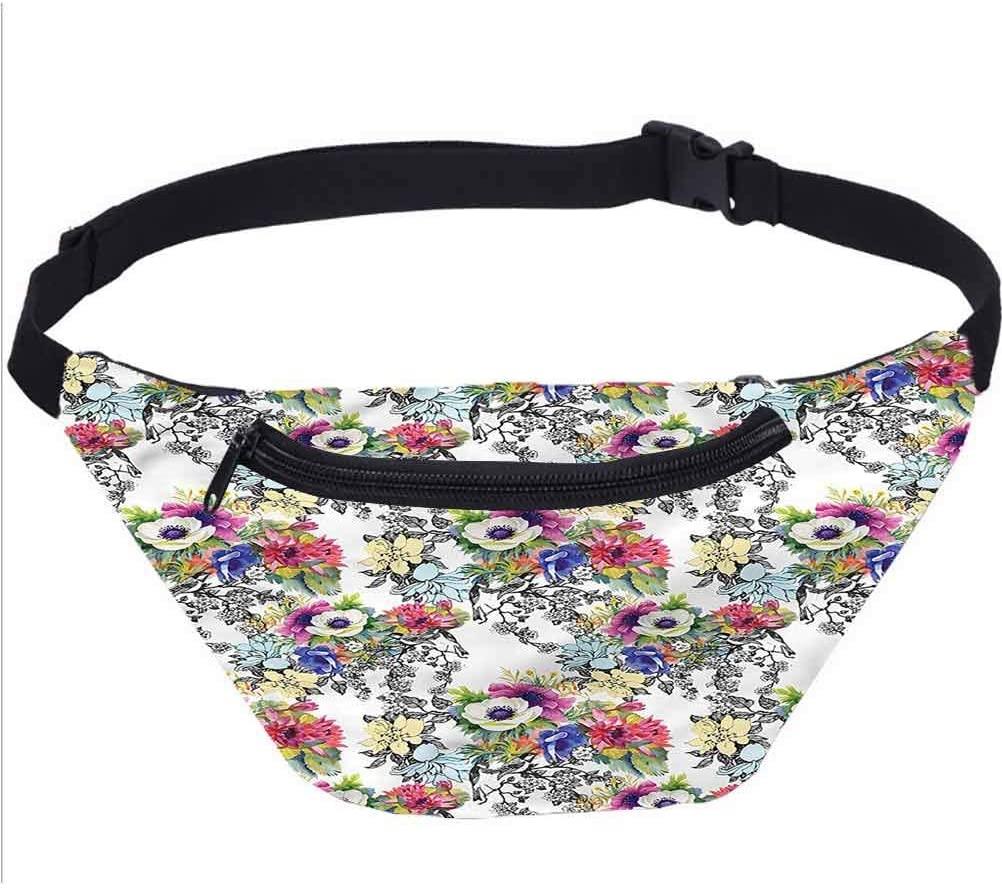 Tribal Travel Fanny Bag,Triangular Mixed Shape Aztec Waist Pack Travel Crossbody Hip Bag