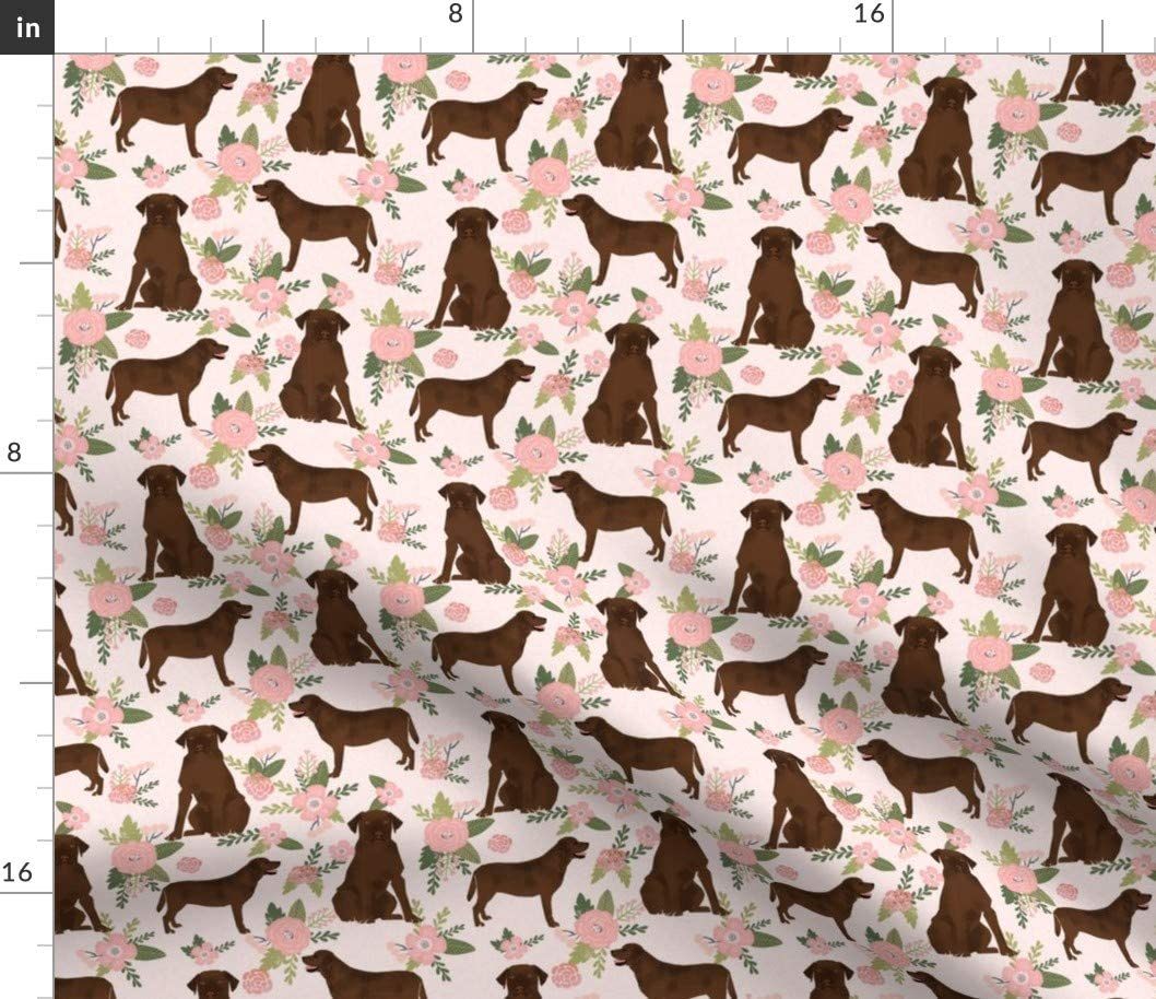 Spoonflower Fabric - Labrador Retriever Chocolate Lab Pet Quilt Floral Coordinates Dog Dogs Printed on Basketweave Cotton Canvas Fabric by The Yard - Upholstery Home Decor Bottomweight