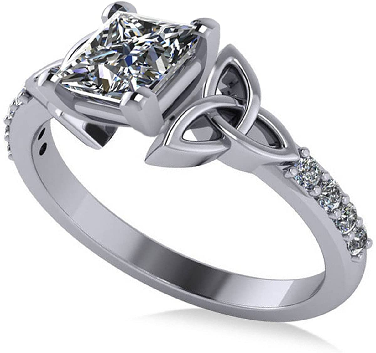 (1.50ct) Platinum Princess Cut Diamond Celtic Knot Irish Engagement Ring