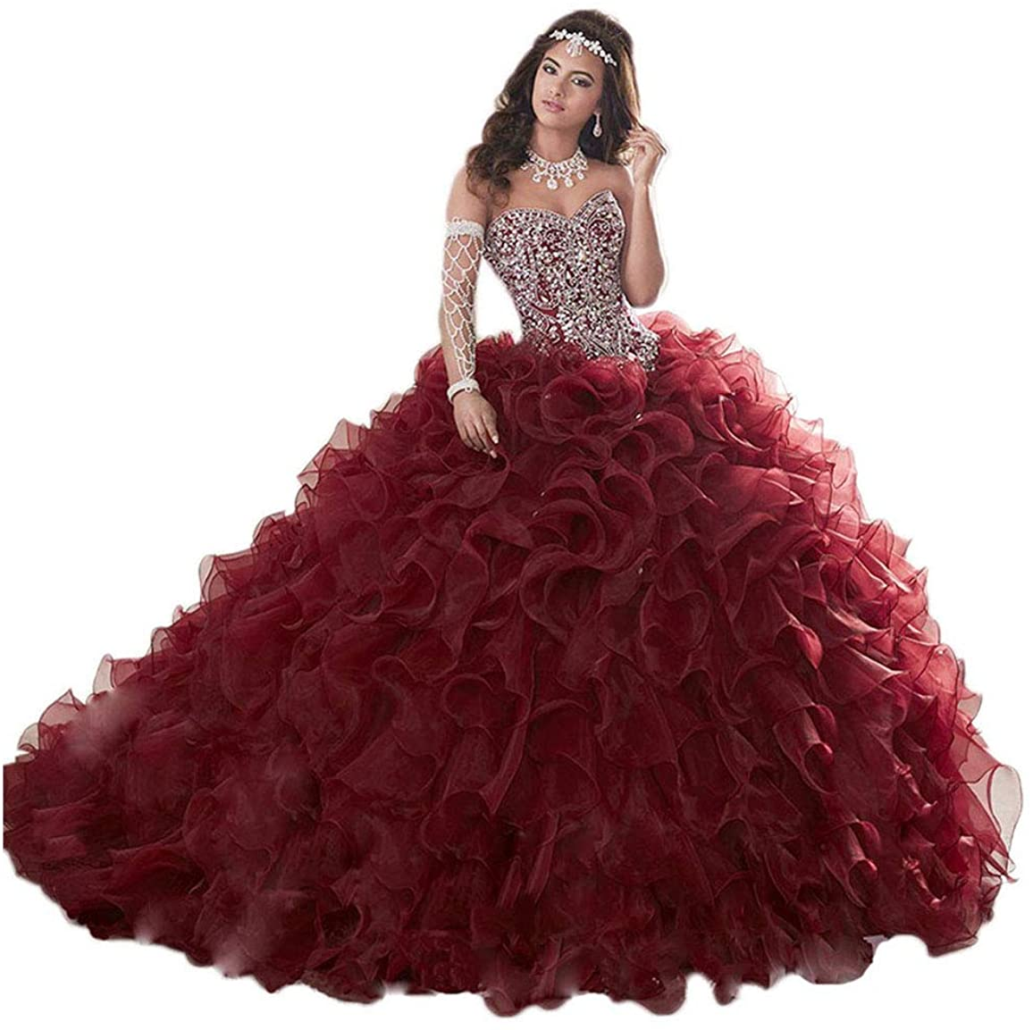 Fenghuavip Wedding Ball Gown Tube top Cocktail Crystal Beads Evening Gowns