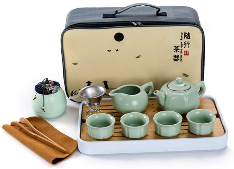 Personalized Ceramic Kung Fu Tea Set Complete Set, Household Ru Kiln Teapot And Teacup, Outdoor Portable Teacup And Tea Tray (Color : Style 1)