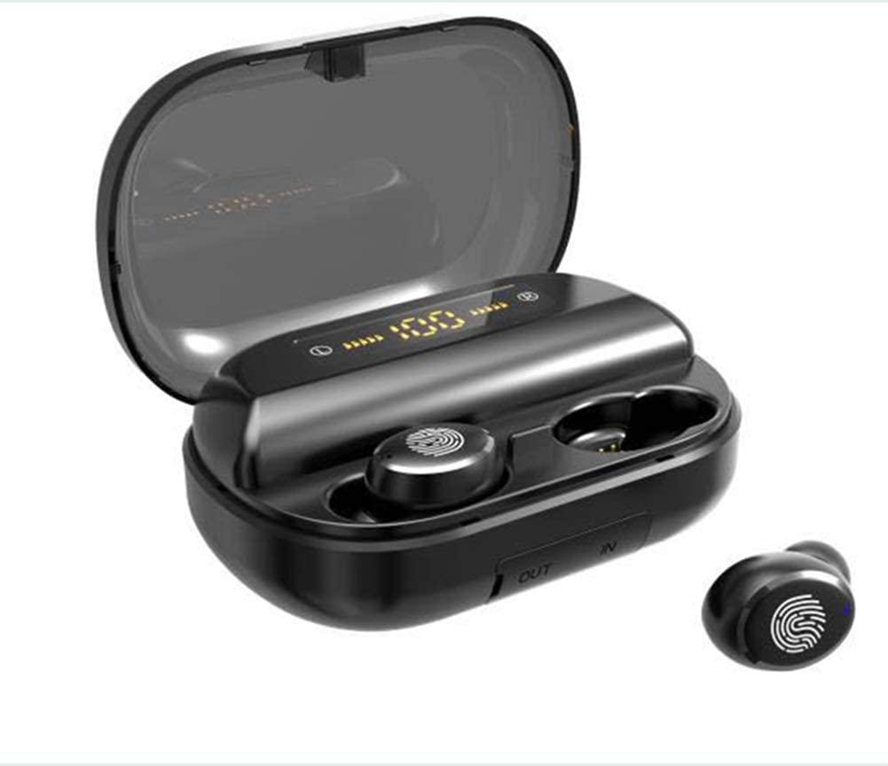 XRQ Wireless Mini Bluetooth Headphones IPX7 Waterproof Touch Control Earbuds Earphone with 2400Mah Charging Case 4000 Mah Power Bank