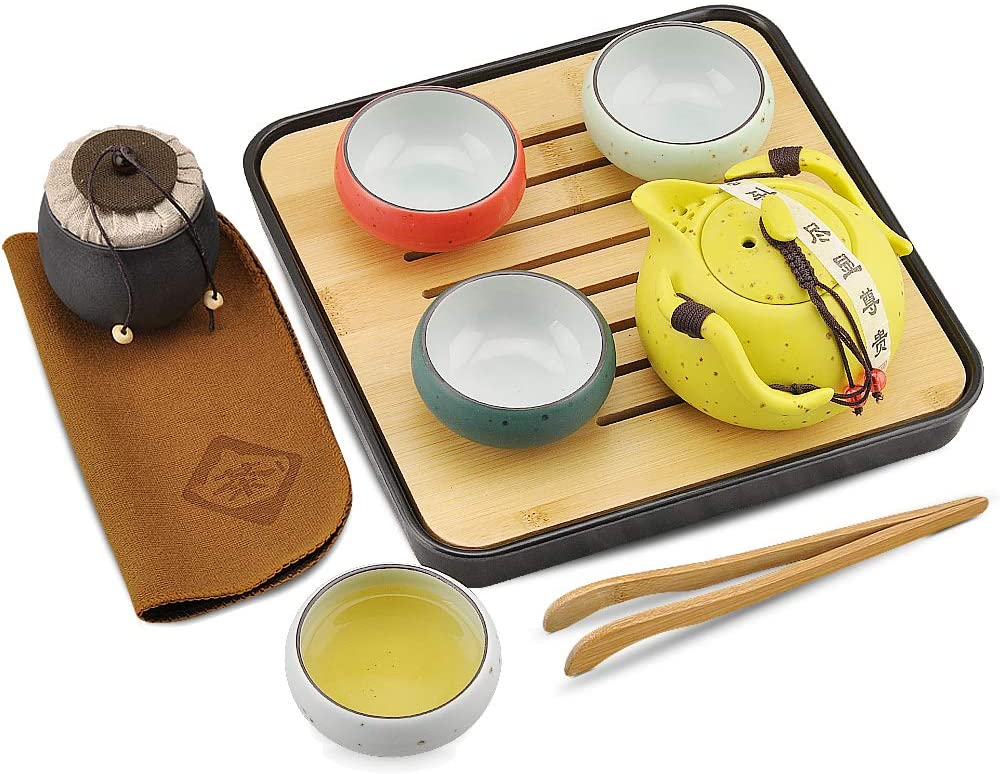 Portable Travel Tea set - Chinese/Japanese Porcelain Gongfu Tea Set, 100% Handmade Traditional Tea Ceremony Set with Tea Can,Teapots, Teacups, Bamboo Tea Tray Serving and Travel Bags (Yellow Tea Pot)