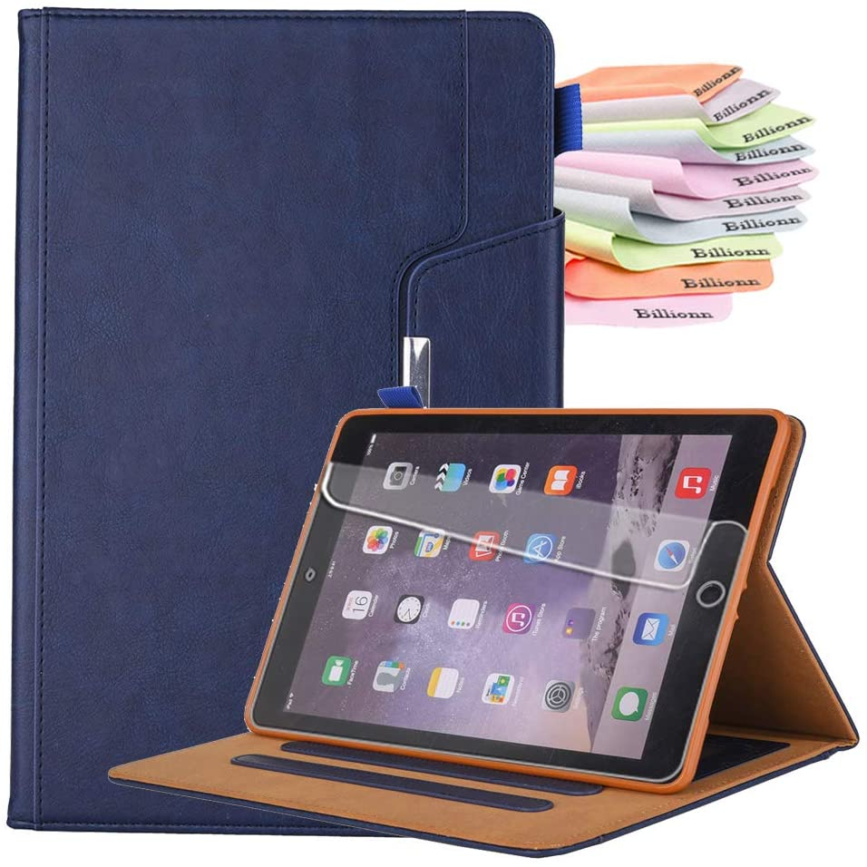 Billionn Case for New iPad Air 4th Generation 2020 / iPad Air 4 10.9 Inch 2020 Case, Auto Sleep/Wake, with Pocket and Pen Holder, Free Screen Protector, Blue