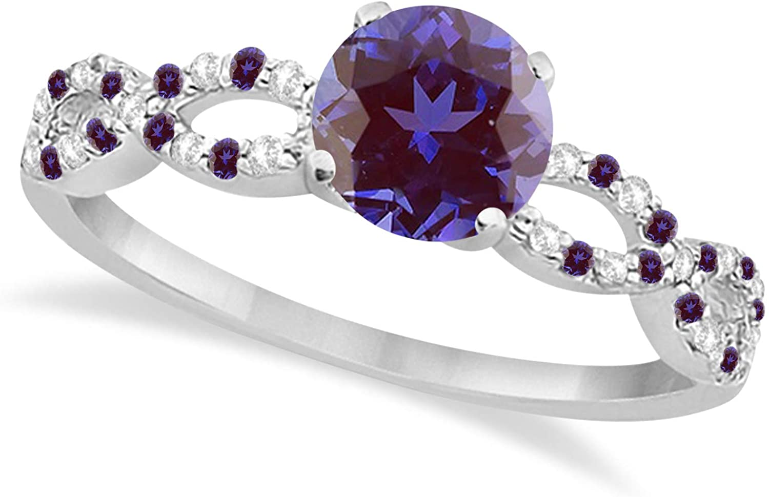 Women?s Infinity Alexandrite and Diamond Engagement Ring w/Side Stone Accents Palladium 1.45ct