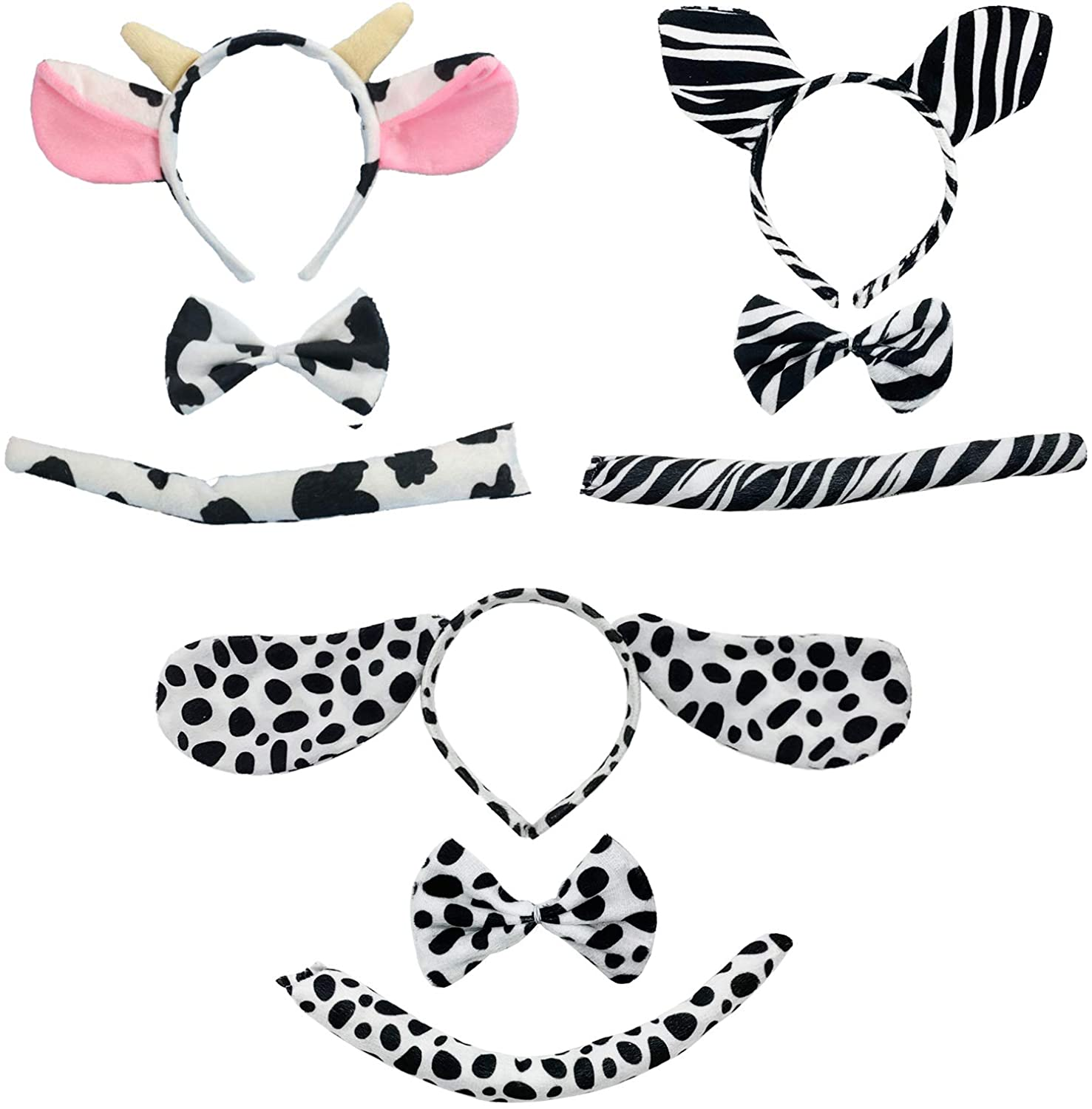 SHANGXING 9 Pack Kids Ears Headband Bow Ties Tail -Cosplay Costume Set Cute Animal Costume Accessories Set Party Halloween Dress Up Outfit