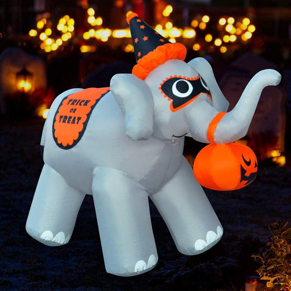 SEASONBLOW 5 Ft Halloween Inflatable Elephant with Pumpkin Airblown Blow Up Decoration for Lawn Yard Garden Home Party Indoor Outdoor Holiday Decor