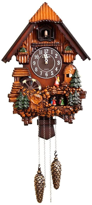 Cuckoo Clock Bird Alarm Clock European Retro Wooden Wall Clock Quartz Pendulum Antique Clock for Living Room Study