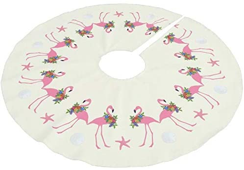 Fhdang Decor Flamingos n Sand Dollars Tropical Christmas Brushed Polyester Christmas Tree Skirt Christmas Decorations Indoor Outdoor,30 Inches