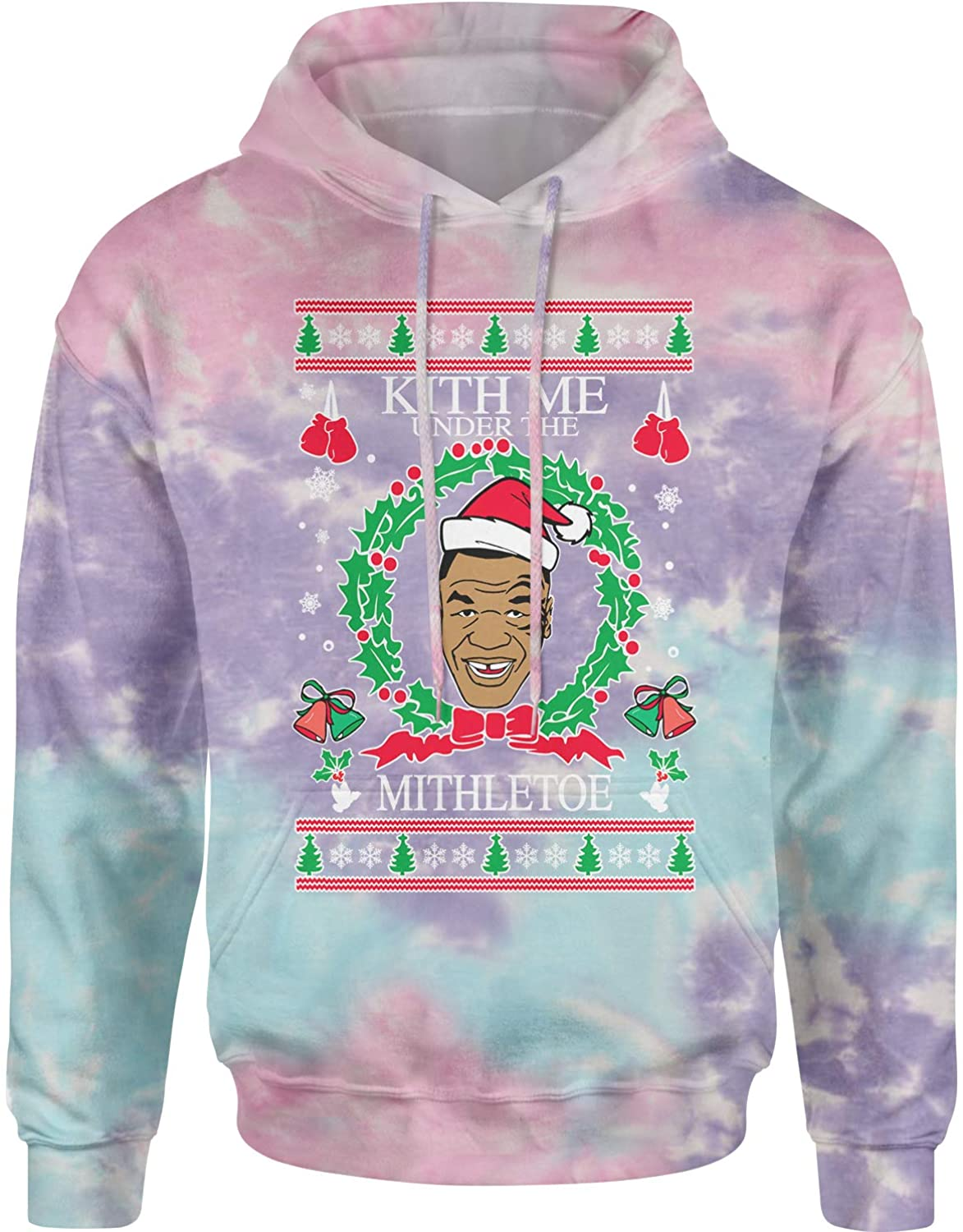 Expression Tees Kith Me Under The Mitheltoe Tyson Ugly Christmas Unisex Adult Tie-Dye Hoodie