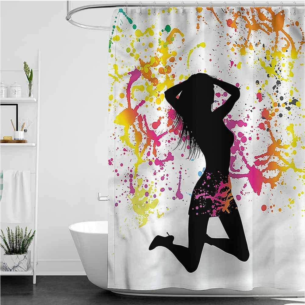 Interestlee Grunge Get Naked Shower Curtain Woman Silhouette Pattern Machine Washable Privacy Curtain, 60 x 72 Inch