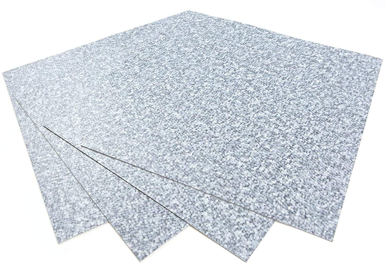 ROSEROSA Peel and Stick Engineered PVC Tiles Carpet Pattern Durable Vinyl Flooring (ECK-102 : Square 4 Tiles)