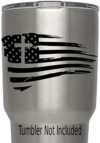 USA Flag Torn Tattered Cross (B) Decals for Yeti Cups (we Don't Sell tumblers) Family Life Stickers for All Brands of Tumblers, Mugs Cups Decals 3.8